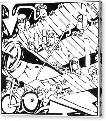 Maze Of Tri-plane Overtaken By Monkeys Canvas Print by Yonatan Frimer Maze Artist
