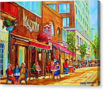 Mazurka Cafe Canvas Print by Carole Spandau
