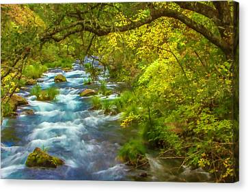 Canvas Print - Mcarthur-burney Falls Creek Painterly by Bill Gallagher
