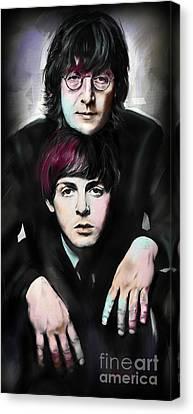 Mccartney And Lennon Canvas Print