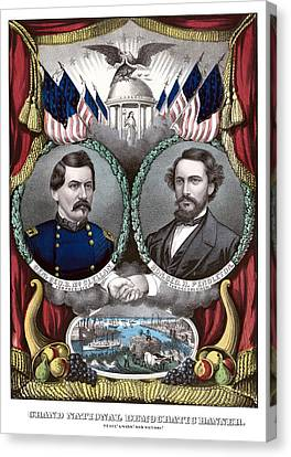 Mcclellan And Pendleton Campaign Poster Canvas Print by War Is Hell Store