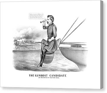 American History Canvas Print - Mcclellan The Gunboat Candidate by War Is Hell Store