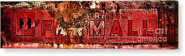 Mccormick Farmall Grunge Logo Canvas Print by Olivier Le Queinec