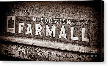 Mccormick Farmall Grunge Sepia Canvas Print by Olivier Le Queinec