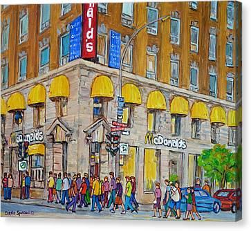 Mcdonald Restaurant Old Montreal Canvas Print by Carole Spandau