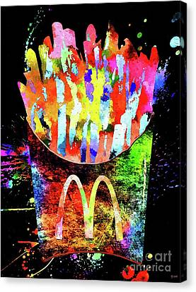 Hamburger Canvas Print - Mcdonald's French Fries Grunge by Daniel Janda