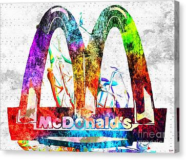 Hamburger Canvas Print - Mcdonald's Grunge by Daniel Janda