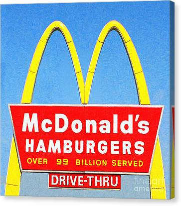 Mcdonalds Hamburgers . Over 99 Billion Served Canvas Print by Wingsdomain Art and Photography