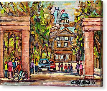 Mcgill Gates  Entrance Of Mcgill University Montreal Quebec Original Oil Painting Carole Spandau Canvas Print by Carole Spandau