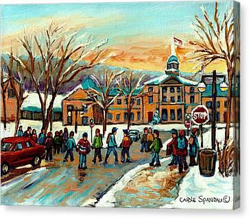 Mcgill Gates Sherbrooke Street Montreal Canvas Print by Carole Spandau