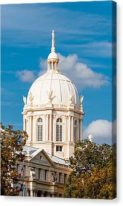 Mclennan County Courthouse Dome By J. Reily Gordon - Waco Central Texas Canvas Print by Silvio Ligutti