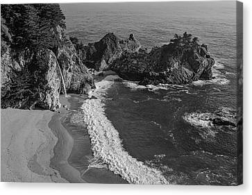 Aesthetic Canvas Print - Mcway Cove Waterfall Black And White by Garry Gay