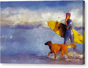 Me My Dog And My Board Canvas Print by Danuta Bennett