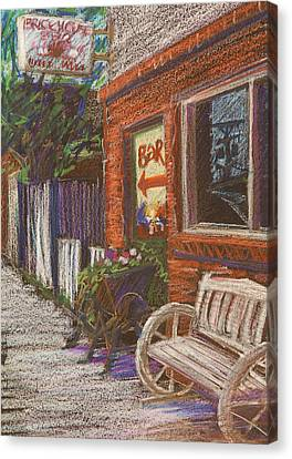 Sidewalk Canvas Print - Mead Cafe by Athena  Mantle