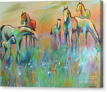 Canvas Print featuring the painting Meadow by Cher Devereaux