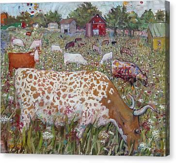 Meadow Farm Cows Canvas Print