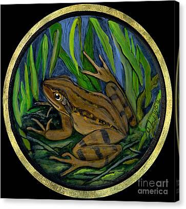 Polish Folk Art Canvas Print - Meadow Frog by Anna Folkartanna Maciejewska-Dyba