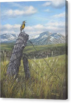 Canvas Print featuring the painting Meadowlark Serenade by Kim Lockman