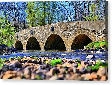 Canvas Print featuring the photograph Meadows Road Bridge by DJ Florek