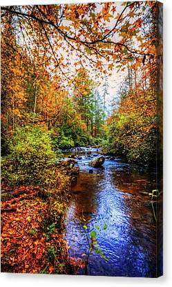 Canvas Print featuring the photograph Meandering In The Mountains by Debra and Dave Vanderlaan