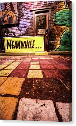 Meanwhil...in An Alley In Bentonville Canvas Print