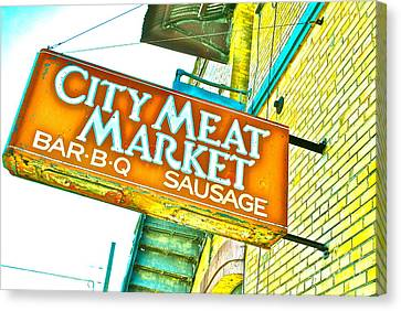 Meat On The Market Canvas Print by Chuck Taylor