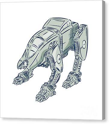 Mecha Bot High Angle Etching Canvas Print by Aloysius Patrimonio