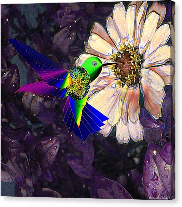 Canvas Print featuring the digital art Mecha Whirlygig by Iowan Stone-Flowers