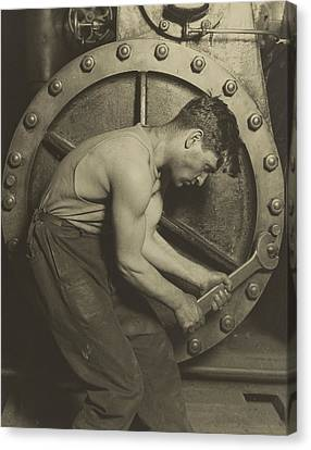 Mechanic And Steam Pump Canvas Print by Lewis Wickes Hine