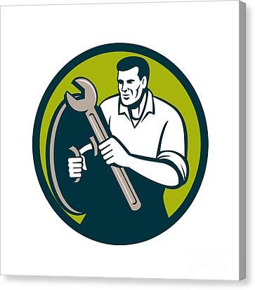 Mechanic Brandishing Spanner Wrench Circle Retro Canvas Print by Aloysius Patrimonio