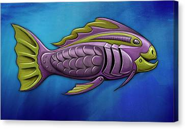 Mechanical Fish 4 Harley Canvas Print by David Kyte