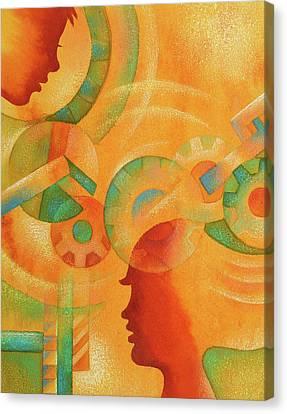 Mechanical Minds Canvas Print by Leon Zernitsky