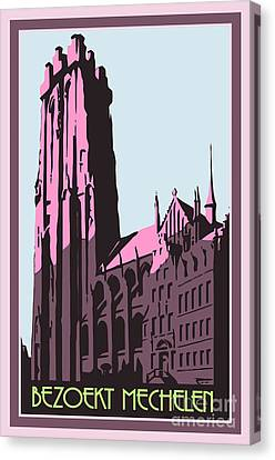 Mechelen Retro Vintage Travel Advert Flemish Dutch Version Canvas Print by Heidi De Leeuw