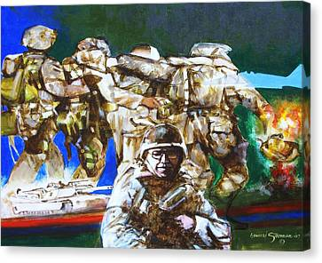 Med Evac Battle For Fallujah Iraq Canvas Print by Howard Stroman