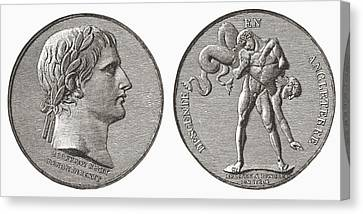 Medal Struck By Napoleon In Canvas Print by Vintage Design Pics