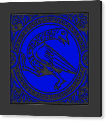 Mediaeval Bird Revision - Blue Canvas Print by Li   van Saathoff