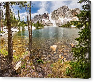 Medicine Bow Snowy Mountain Range Lake View Canvas Print