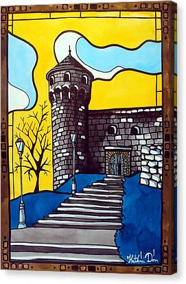 Canvas Print featuring the painting Medieval Bastion -  Mace Tower Of Buda Castle Hungary By Dora Hathazi Mendes by Dora Hathazi Mendes