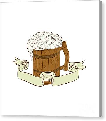 Frosty Mug Canvas Print - Medieval Beer Mug Foam Drawing by Aloysius Patrimonio