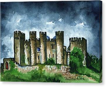Canvas Print featuring the painting Medieval Castle Before Storm by Dora Hathazi Mendes