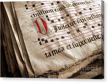 Medieval Choir Book Canvas Print by Carlos Caetano