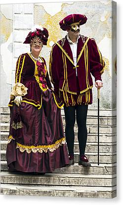 Medieval Couple 2015 Carnevale Di Venezia Italia Canvas Print by Sally Rockefeller