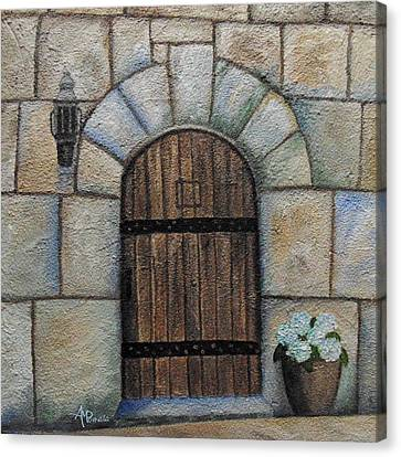 Medieval Entrance Canvas Print - Medieval Door by Angeles M Pomata