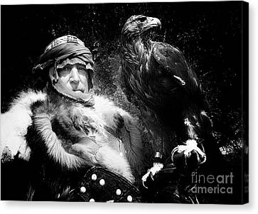 Canvas Print featuring the photograph Medieval Fair Barbarian And Golden Eagle by Bob Christopher