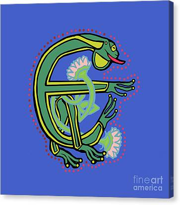 Medieval Frog Letter E Canvas Print