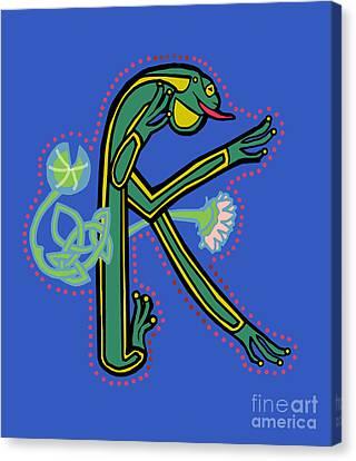 Medieval Frog Letter K Canvas Print by Donna Huntriss