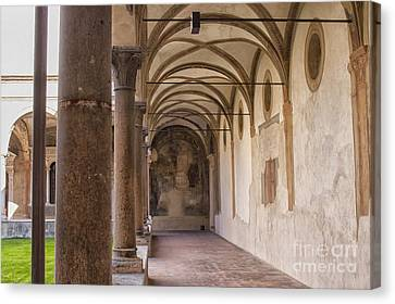 Medieval Hallway Of Italian Cloister Canvas Print by Patricia Hofmeester