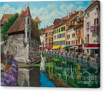 Medieval Jail In Annecy Canvas Print by Charlotte Blanchard