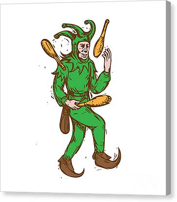 Medieval Jester Juggling Wooden Pins Drawing Canvas Print