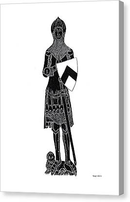 Medieval Knight Brass Rubbing Canvas Print by Shelagh Watkins